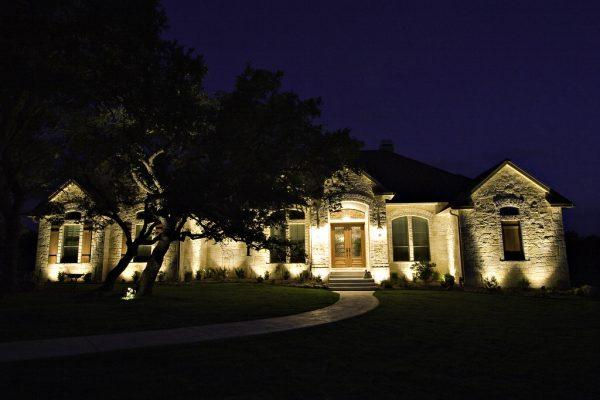 House with Outside Lights On