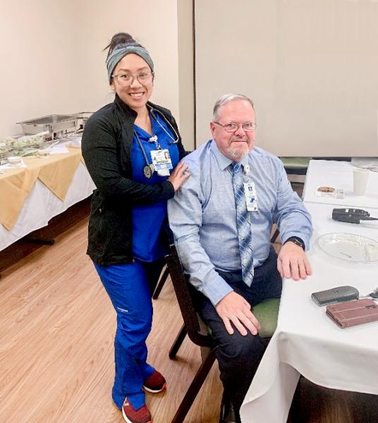 Bob Coynes with Nurse