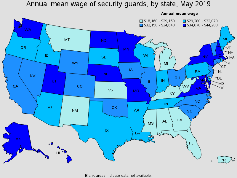 graph of annual mean wage of security guards by state in may 2019